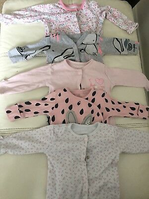 Baby Girls Clothes Bundle Sleepsuits 0-3 Months Majority Next