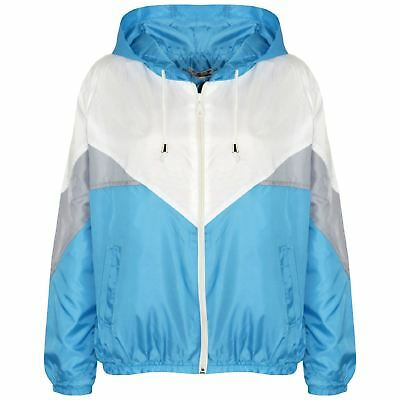 Kids Girls Boys Windbreaker Jackets Turquoise Panelled Hooded Raincoat 5-13 Year