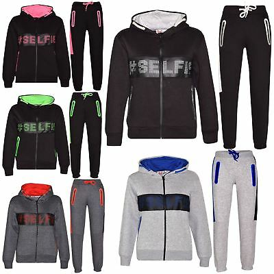 Kids Boys Girls Tracksuit Designer #Selfie Top Bottom Jogging Suit Age 5-13 Year