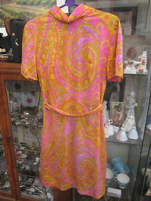 "Vintage Bright Retro Vibrant 60s / 70s Nylon Dress 36"" Bust 32/34"" Waist"