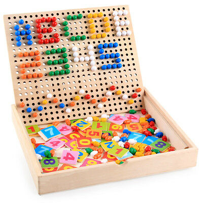 Baby Toddler Wooden Educational Toys Numbers Mushroom Nails Jigsaw Puzzle