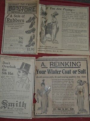Vintage Print Ads, 1912-1914 for Silk Hats, Corsets, Winter Cloths
