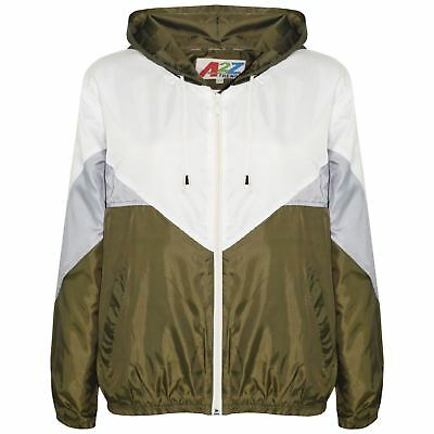 Kids Girls Boys Windbreaker Jackets Olive Panelled Hooded Raincoat Age 5-13 Year