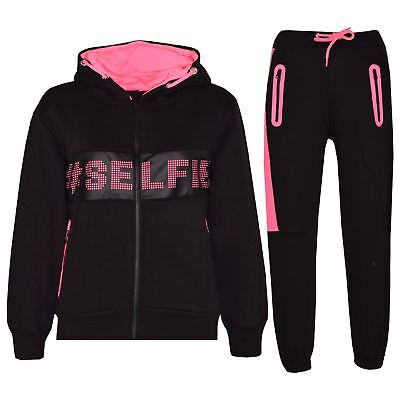 Kids Girls Tracksuit Designer #Selfie Zipped Top & Bottom Jogging Suit 5-13 Year
