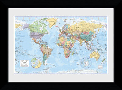 World Map Political Country Capitals 2017 50x70cm Framed Collector Print
