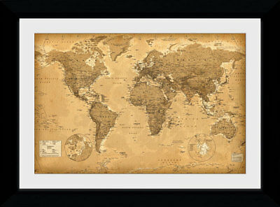World Map Antique Style Educational Picture 50x70cm Framed Collector Print