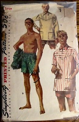 Vintage Simplicity Men's Swim Trunks & Pullover Casual Shirt Pattern Sz Lg