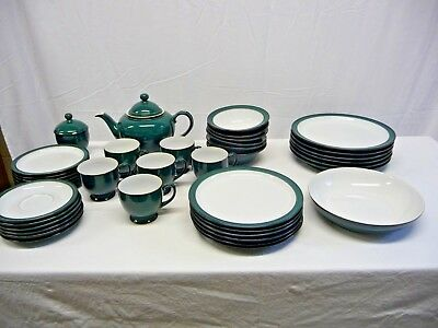 Denby Greenwich Handcrafted Green Dinner & Tea Set - 39 Pieces