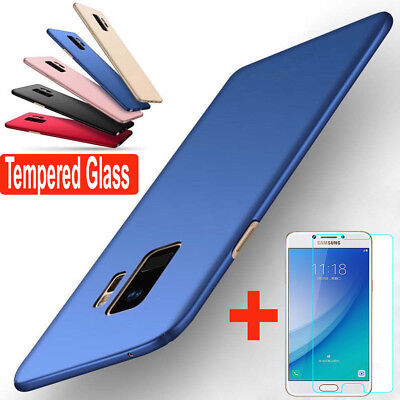 Full Cover Hard Case + Tempered Glass For Samsung Galaxy J3 J5 J7 Pro J4 J6 J8