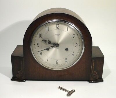 English Art Deco Smiths of Enfield Oak Mantel Clock - Good Working Order.