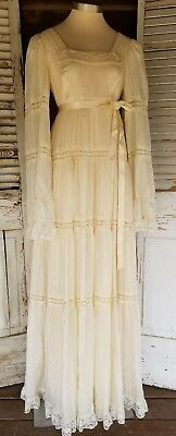 RARE MINT 70's Charm of Hollywood Wedding Dress Boho  Romantic Gunne Style Sz 11