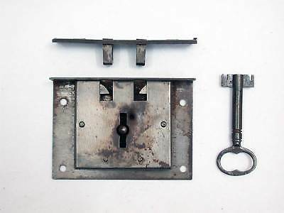 Antique Blanket Chest Lock, Double Bit Key Complete - Working - 19th Century