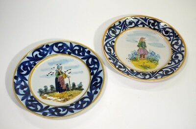 Pair of Handpainted Quimper Faience Pottery Plates.