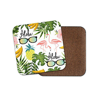 Aloha Hawaii Drinks Coaster - Flamingo Pineapple Sunglasses Tropical Gift #8489