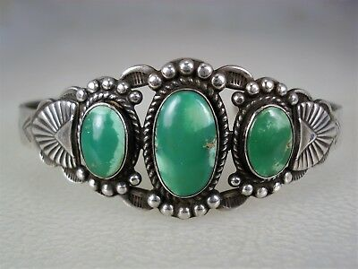 OLD Fred Harvey era STAMPED STERLING SILVER & 3 TURQUOISE BRACELET Maisels