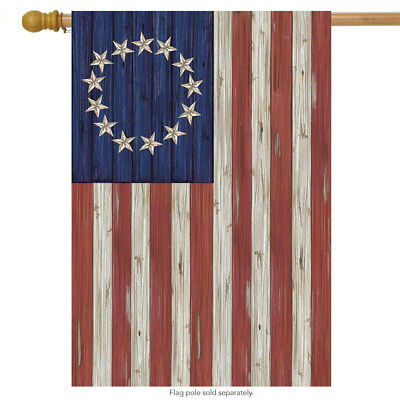 "Betsy Ross Flag Patriotic House Flag Rustic 4th of July 28"" x 40"""