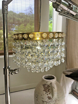 Petite Crystal Chandelier 1930s - Antique Halcolite Flush Mount - Made in Italy
