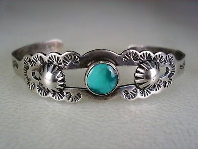 OLD Fred Harvey era STAMPED STERLING SILVER & TURQUOISE BRACELET w/ side buttons