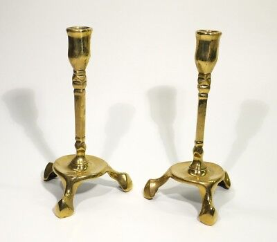 Pair of Antique Art Nouveau Brass Candlesticks on Tri-pod Bases.