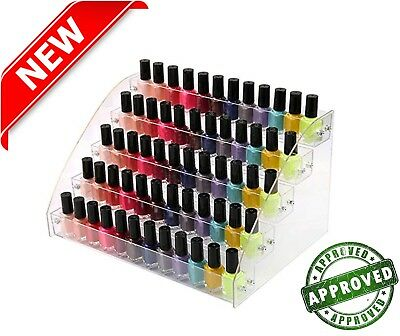 Clear Acrylic Nail Polish Display Stand Organizer 60 Bottles Holder Makeup Rack