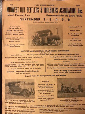 Vintage poster Midwest Old Settlers &n Threshers Assoc 16th Annual Reunion, 1965