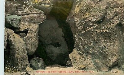 New York City, NY, Entrance to Cave, Central Park, 1914 Vintage Postcard d6469