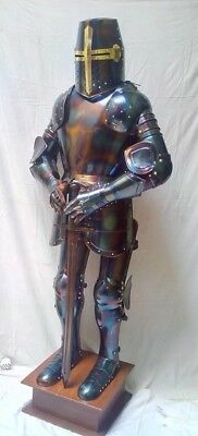 Blue-Antique-Knight-Full-Suit-of-Armor-Wearable-Costume-with-Base  Blue-Antique