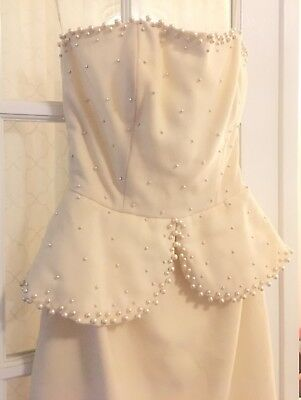 Victor Costa Dress Vintage Womens Size 6 Ivory Pearls Wedding Bridal Short White