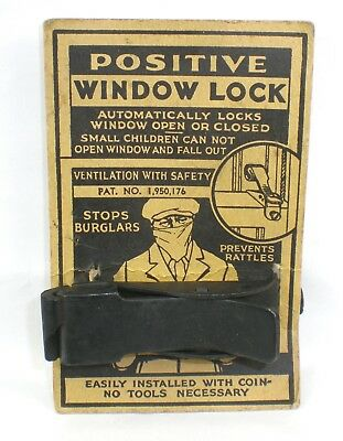 Vintage 1934 Patent POSITIVE WINDOW LOCK with Original Display Card ~ NOS ~ NR