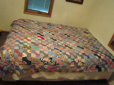 "~Beautiful~ Vintage Hand Pieced Large Bowtie Bow Tie Quilt Top 81""x90"""