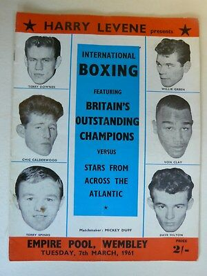 Mar 1961 Boxing programme Terry Spinks Terry Downes