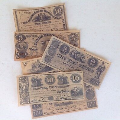 New York Currency 1776-1864 - 7 unique replicas/reproductions
