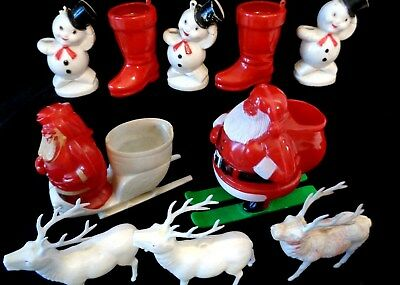 10 Vtg Christmas Hard Plastic Rosbro Ornament Candy Container Santa Boot Snowman