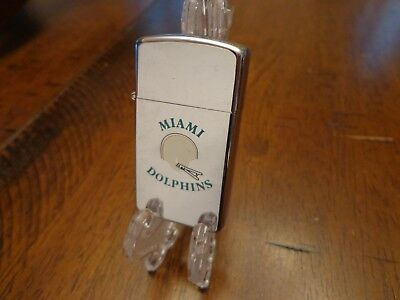 Miami Dolphins Vintage Nfl Helmet  Slim Zippo Lighter Used No Box 1985