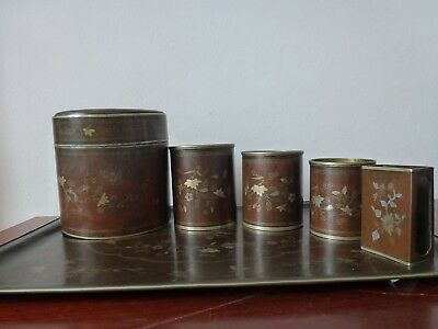 Boite Bronze Fumeur Argent Chinese Old Set Smoking Box Tray Inlaid Silver 19Th