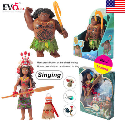 Moana Maui Action Figures Movie Singing Doll Kids Interactive Toys Collection