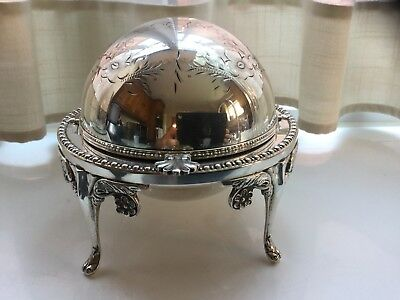 Superb Vintage Silver Plated Roll Top Butter/caviar Dish