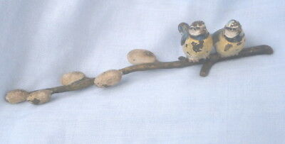 Small Cold Painted Bronze 2 Birds On A Branch.