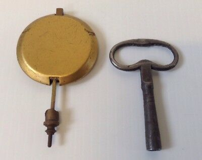 ANTIQUE CLOCK KEY & BRASS PENDULUM  99p START
