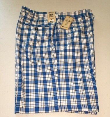 656645179b Haggar Men's Cool 18 Performance Flat Front Short Size 40 Blue Plaid Nwt