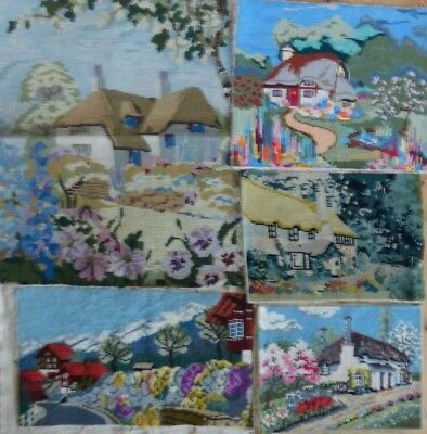 5 x  VINTAGE TAPESTRY PANELS -  COUNTRY COTTAGES + GARDENS SUITABLE RE-PURPOSING