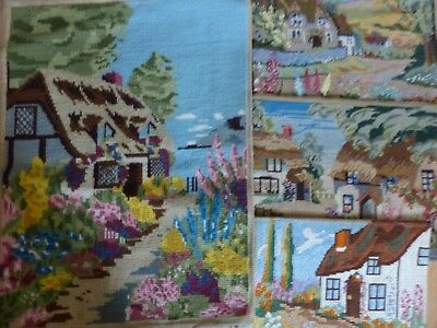 4 x  VINTAGE TAPESTRY PANELS -  COUNTRY COTTAGES + GARDENS SUITABLE RE-PURPOSING