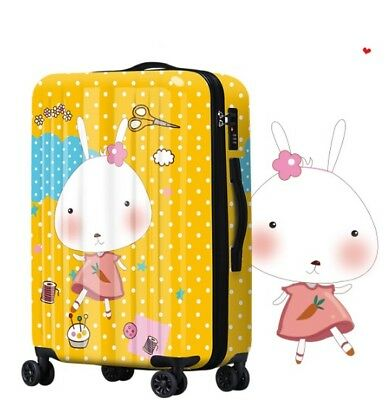 D247 Cartoon Rabbit Universal Wheel ABS+PC Travel Suitcase Luggage 20 Inches W