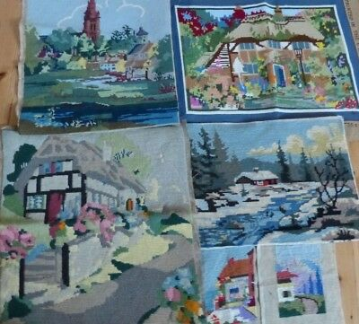 6x  VINTAGE TAPESTRY PANELS -   COTTAGES + GARDENS + SNOW  SUITABLE RE-PURPOSING