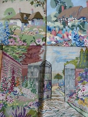 3x  VINTAGE TAPESTRY PANELS 1930s  ENGLISH COTTAGES  GARDENS FOR RE-PURPOSING