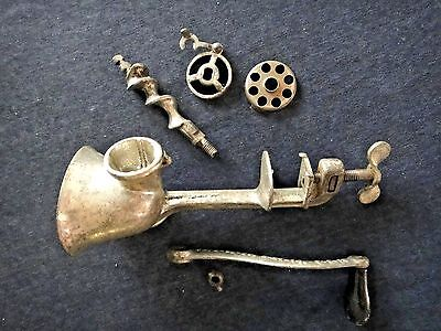 Vintage Small Manual Hand Crank Food Chopper or Meat Grinder 1914