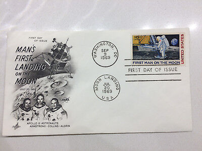 "Apollo 11 ""Man's First Landing on the Moon"" First Day of Issue Cover"