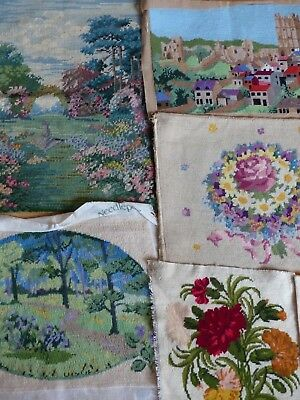 8 x  VINTAGE TAPESTRY PANELS  FOR RE-PURPOSING FLORAL COUNTRYSIDE