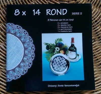 8 x 14 Rond, 8 loose  round patterns and prickings, in different lace styles