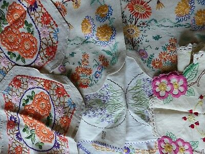 8 x  VINTAGE EMBROIDERED TABLE RUNNERS CENTRES  ENGLISH COUNTRY FLOWERS VIOLETS